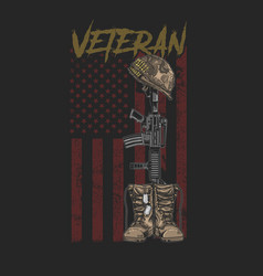 Veteran army boot vector