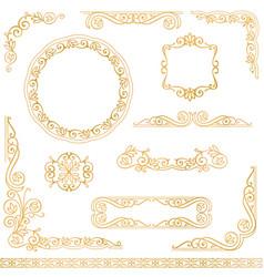 Vintage gold decorative frames design element set vector
