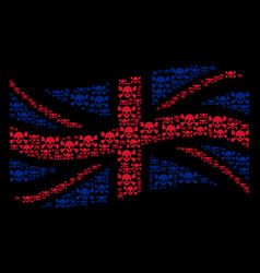 waving british flag mosaic of skull crossbones vector image