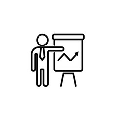 web line icon business report man at the flipchar vector image
