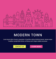 website banner and landing page modern town vector image