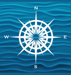 wind rose over blue waves background vector image