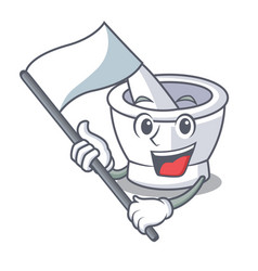 With flag mortar mascot cartoon style vector