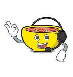 With headphone soup union mascot cartoon vector