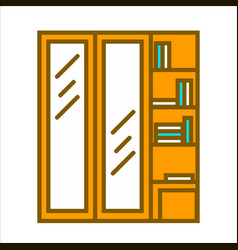 wooden wardrobe with two vertical doors and vector image