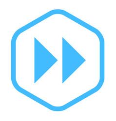 Arrow sign fast forward linear hexagon icon vector