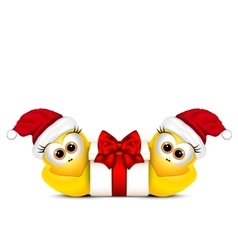 Christmas card with chickens in Santa hat vector image vector image