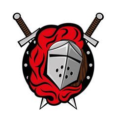 Knights helmet and swords vector