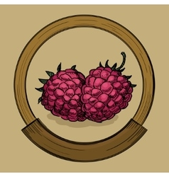 Label for raspberries jam sketch style vector image vector image