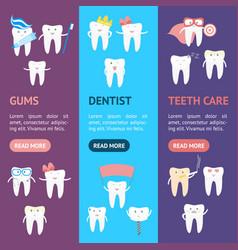 cartoon tooth banner vecrtical set vector image