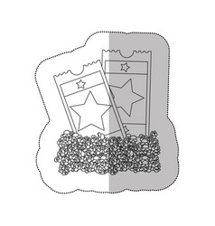 grayscale contour sticker of popcorn and movie vector image vector image