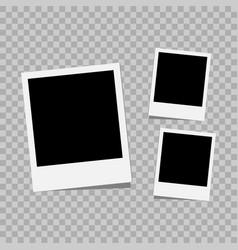 photo frame white plastic border on a transparent vector image