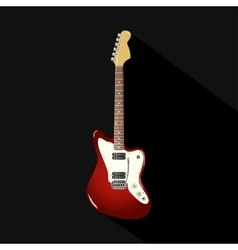 red vintage electric guitar on a black background vector image