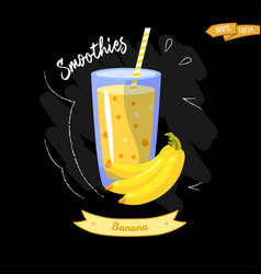 Glass of smoothies on black background banana vector