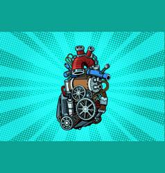 steampunk heart motor vector image