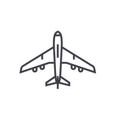 airplane top view line icon sign vector image