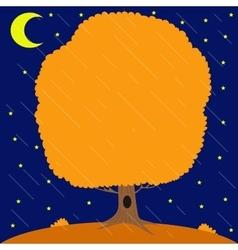 Autumn tree under the rain in the night star sky vector image