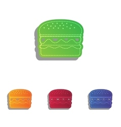 Burger simple sign Colorfull applique icons set vector image