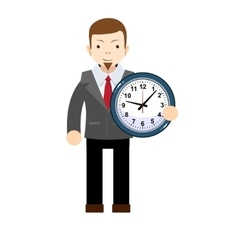 funny cartoon office worker with clock vector image