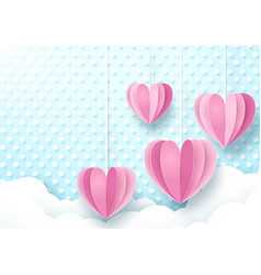 hearts hanging cute soft blue and white background vector image vector image