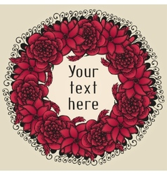 Round floral wreath like bouquet of red flowers in vector image vector image