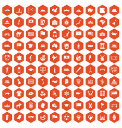 100 geography icons hexagon orange vector image