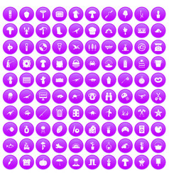 100 hobby icons set purple vector