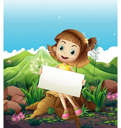 A happy girl sitting above the stump while holding vector image