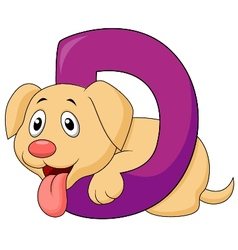 Alphabet D with Dog cartoon vector image