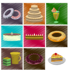 Assembly flat shading style icons desserts for vector