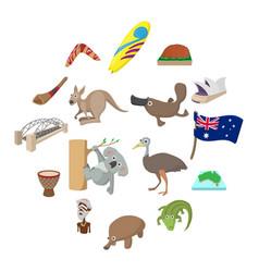 australia icons cartoon vector image
