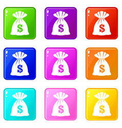 bag with dollars set 9 vector image
