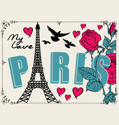 Banner with famous eiffel tower and roses vector