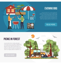 Barbecue And Picnic Banners vector image