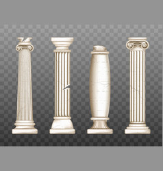 baroque pillars roman renaissance cracked columns vector image