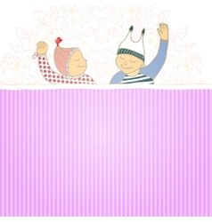 bashower card with twins little boy and girl vector image