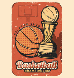 basketball sport league cup championship vector image