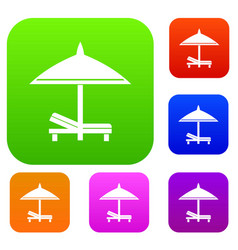 bench and umbrella set collection vector image