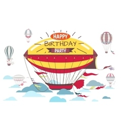 Birthday greetings card with hot air balloon vector