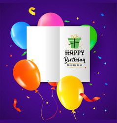 birthday party balloon paper greeting card design vector image