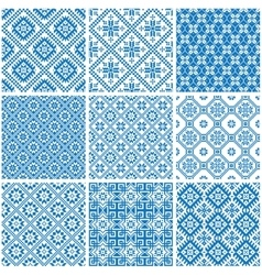 blue and white ornamental ethnic seamless patterns vector image