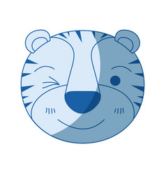 Blue color shading silhouette cute face of tiger vector