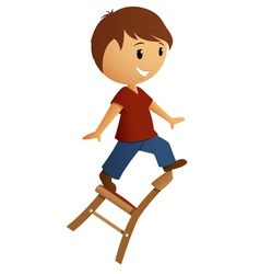 Boy in red shirt balance on the chair vector