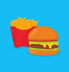burger hamburger and french fries vector image vector image
