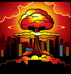 Burning city with nuclear explosion atomic bomb vector