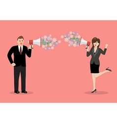 Businessman and woman are holding a megaphone with vector