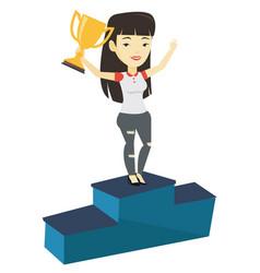 Businesswoman proud her business award vector