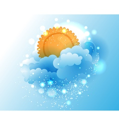 Cartoon sky cloud and sun vector image
