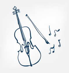 cello sketch isolated design element vector image
