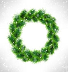 Christmas wreath like frame in snowfall on vector image